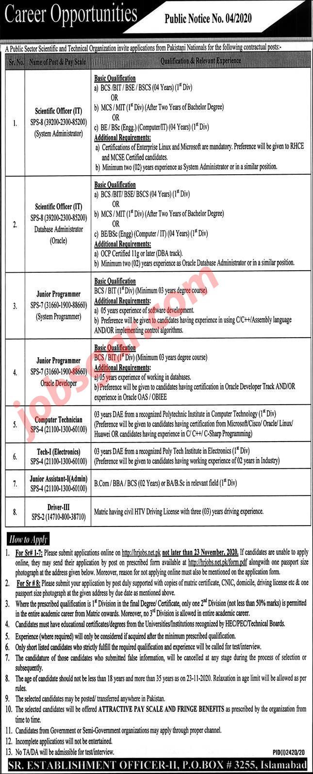 PO Box 3255 Islamabad Jobs 2020 Scientific & Technical Organization