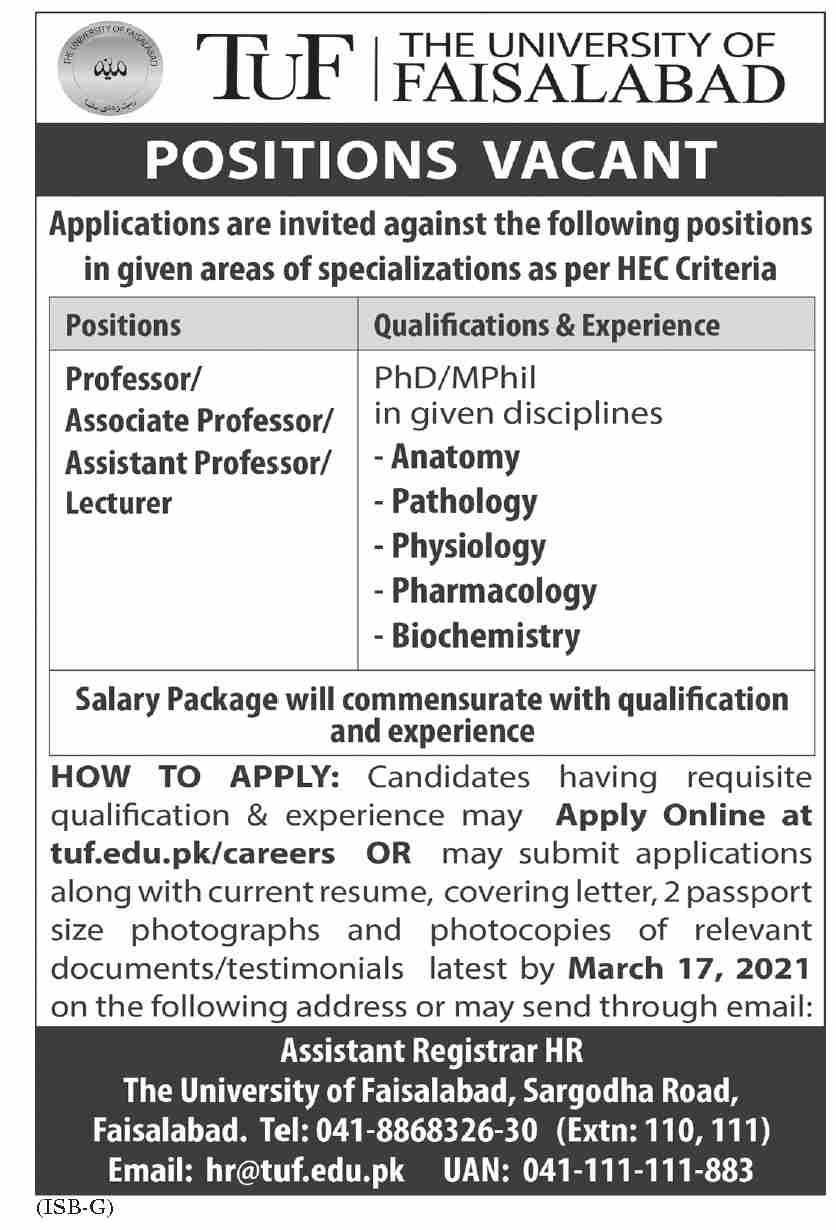 The University of Faisalabad TUF Jobs 2021
