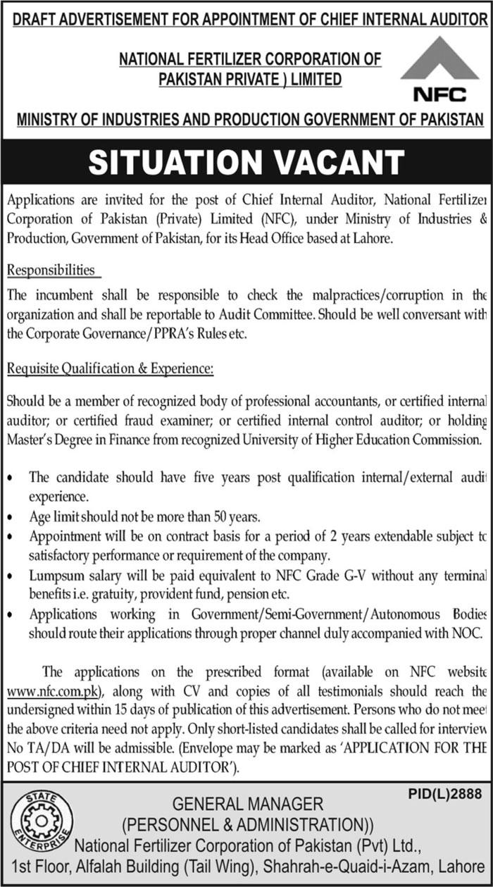National Fertilizer Corporation of Pakistan NFC Jobs 2021