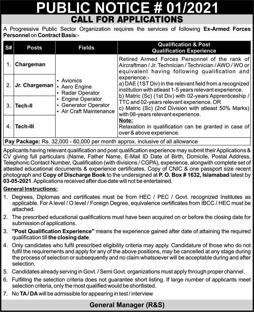 Public Sector Organization PO Box 1632 Islamabad Jobs 2021