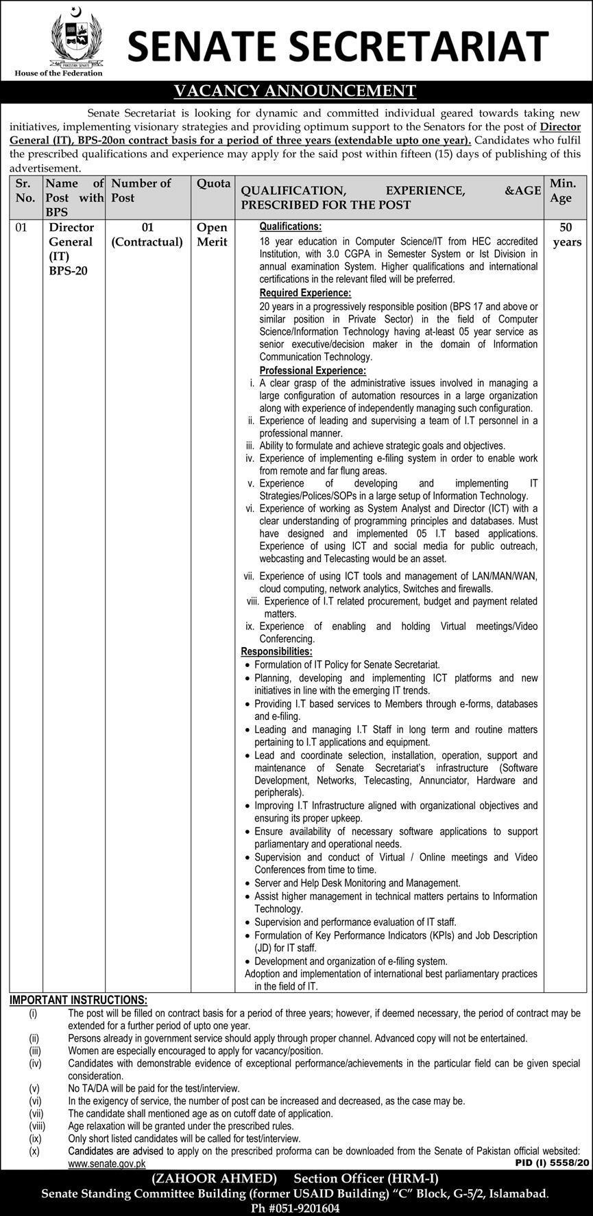 Senate Secretariat Jobs 2021 Senate of Pakistan