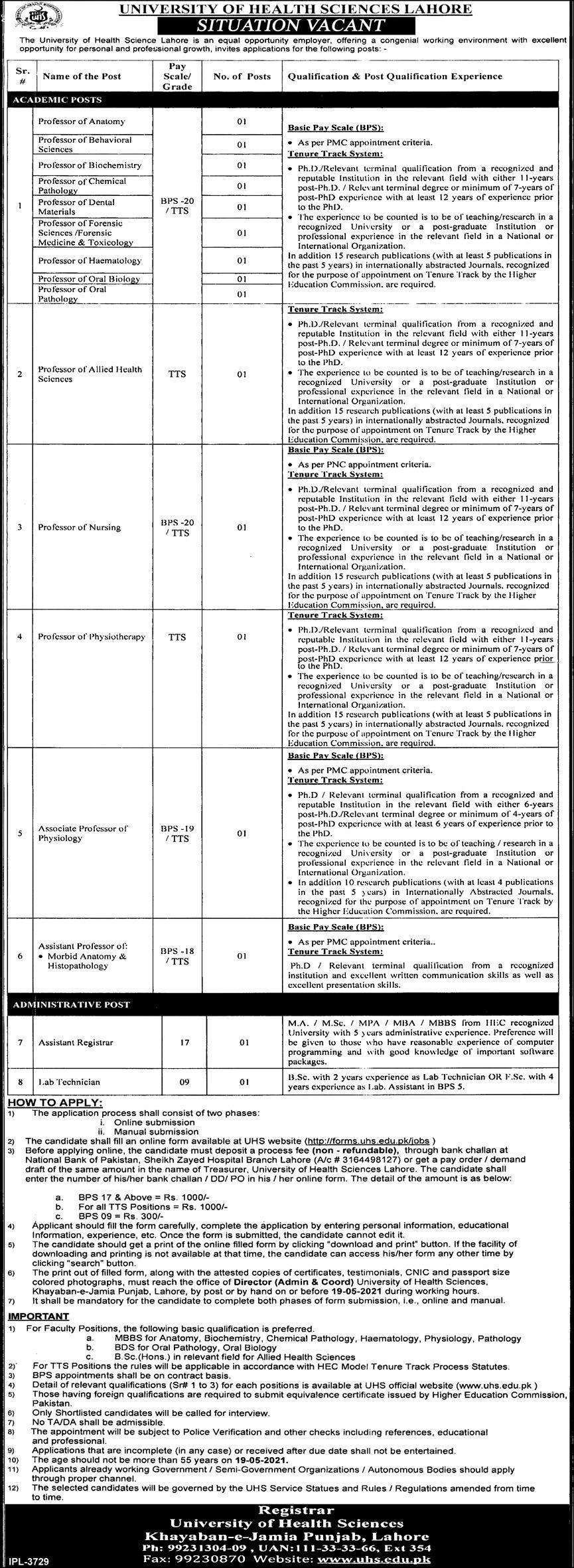 University of Health Sciences Lahore UHS Jobs 2021