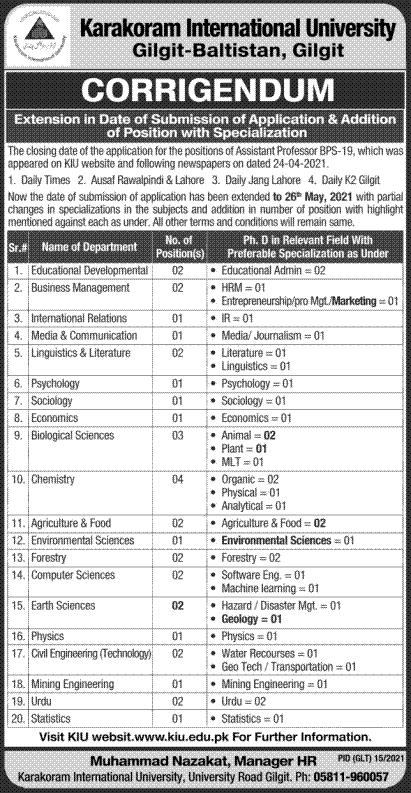 Karakoram International University Gilgit KIU Jobs 2021