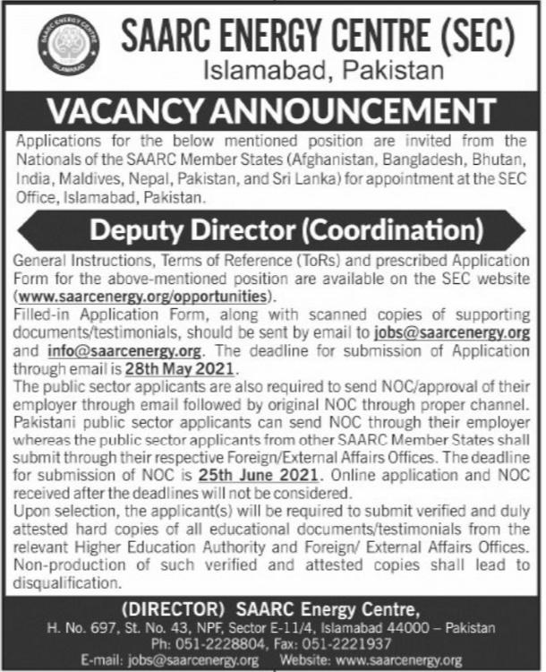 SAARC Energy Centre SEC Jobs 2021 in Islamabad