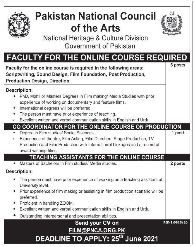 Pakistan National Council of Arts PNCA Jobs 2021