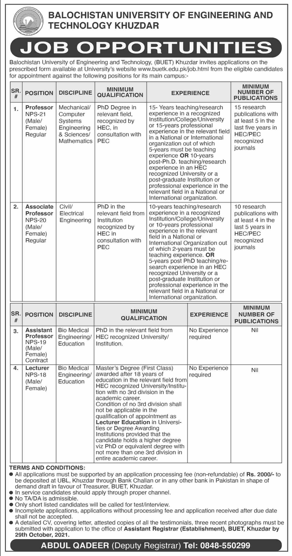 Balochistan University of Engineering and Technology BUET Khuzdar Jobs 2021