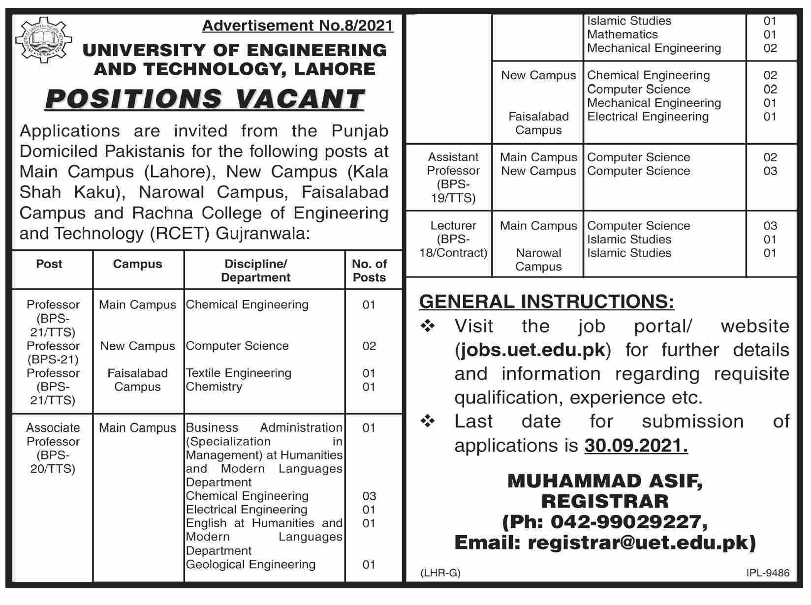 University of Engineering & Technology Lahore UET Lahore Jobs 2021