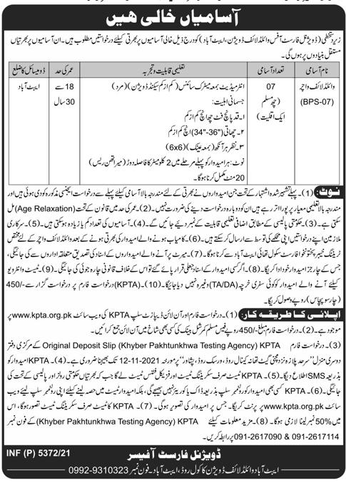 Forest Department KPK Jobs 2021 in Peshawar