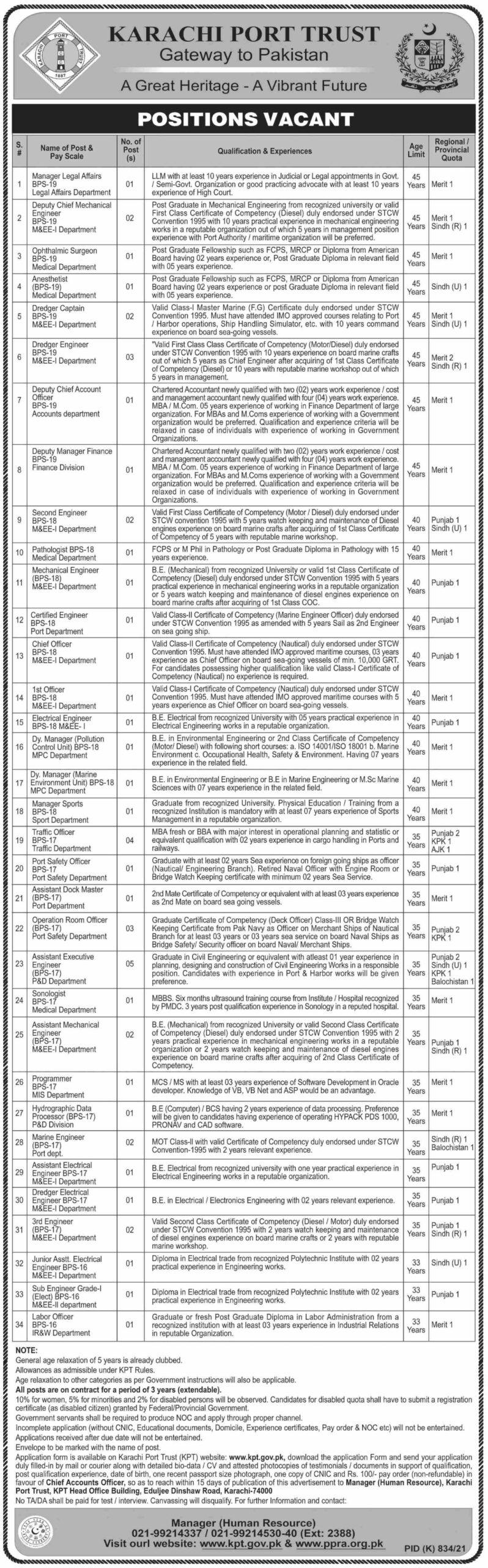 Karachi Port Trust KPT Jobs 2021 in Karachi