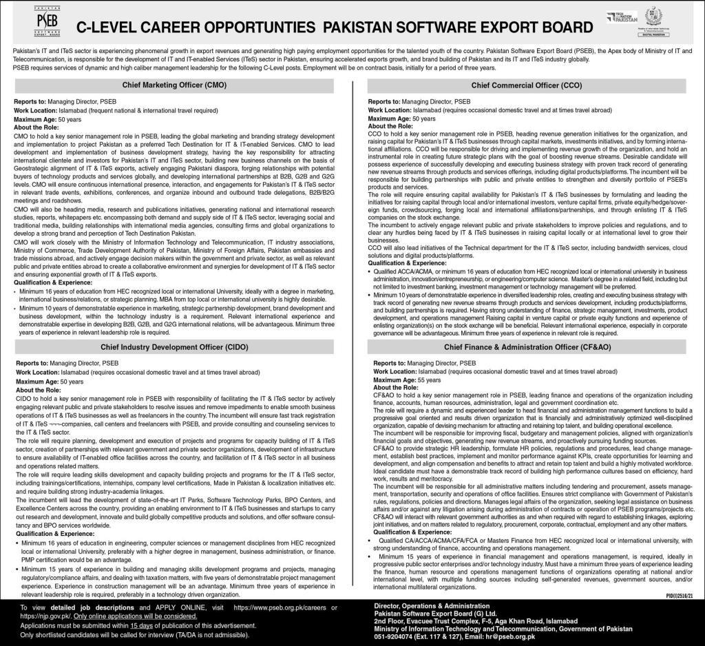 Pakistan Software Export Board PSEB Jobs 2021